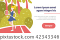 woman tennis player hold racket outdoor palm landscape background female sport activity cartoon 42343346