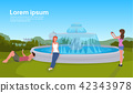 people relaxation photographing city park fountain green grass trees cityscape background horizontal 42343978