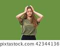 headache, young, woman 42344136