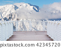 White balcony with wood floor nature background. 42345720