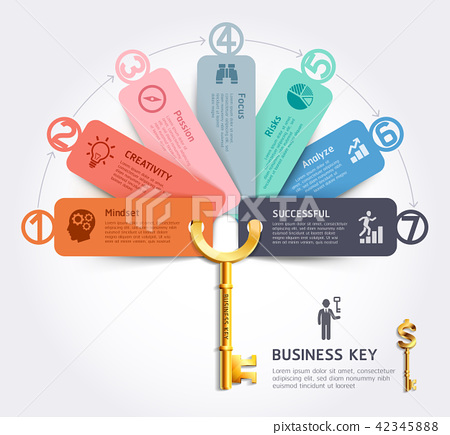 Business key concept infographics design template. 42345888