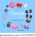 Set of Exercises equipment. Vector 42345893