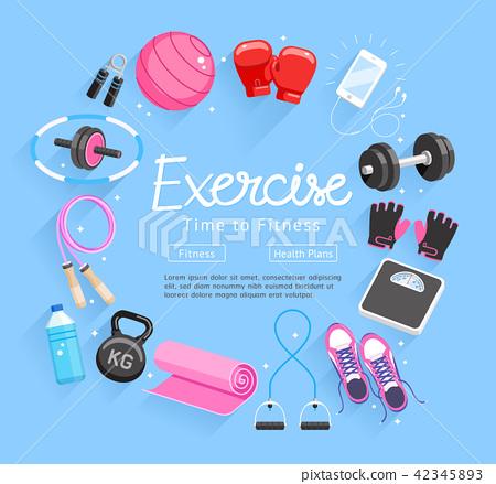 Set of Exercises equipment. Vector 42345893