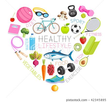 Healthy lifestyle conceptual design. Vector 42345895