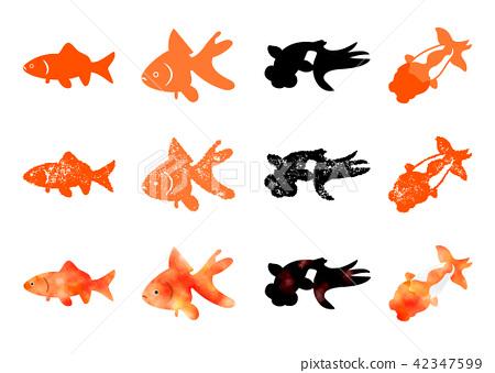 Goldfish icon Hanko & Watercolor - Stock Illustration