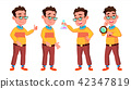 Boy Schoolboy Kid Poses Set Vector. High School Child. School Student. Cheer, Pretty, Youth. For 42347819