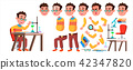 Boy Schoolboy Kid Vector. High School Child. Animation Creation Set. Face Emotions, Gestures 42347820
