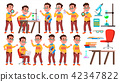 Boy Schoolboy Kid Poses Set Vector. High School Child. Child Pupil. University, Graduate, Class. For 42347822