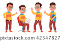 Boy Schoolboy Kid Poses Set Vector. High School Child. Secondary Education. Casual Clothes, Friend 42347827