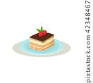 tiramisu, vector, dessert 42348467