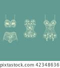 Set of retro lingerie pieces made of linear flower 42348636