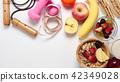 Oatmeal flakes, milk, fresh fruits on background 42349028