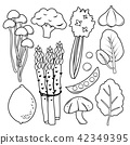 Vegetable Black Icon Set Vector 42349395