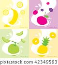 Milk Flavor Banana Cherry Pineapple Melon Vector 42349593