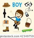 Boy Smart Cartoon Vector 42349759