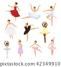 Ballet dancer vector ballerina woman character dancing in ballet-skirt tutu illustration set of 42349910