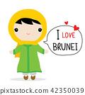 Brunei Women National Dress Cartoon Vector 42350039