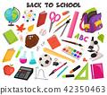notebook, scissors, calculator 42350463