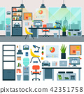 Office vector work place with computer and workers furniture table or chair in furnished business 42351758