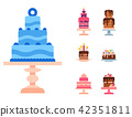 Wedding or Birthday pie cakes flat sweets dessert bakery ceremony delicious vector illustration. 42351811
