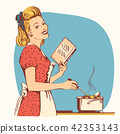 Retro young woman in red old fashioned dress 42353143