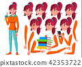 Teen Girl Vector. Teenager. Pretty, Youth. Face Emotions, Various Gestures. Animation Creation Set 42353722