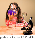 Little Girl Processing Chemical Homework Experiment with Chemical vessels. Child Education 42355492