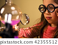 Little Girl Processing Chemical Homework Experiment with Chemical vessels. Child Education 42355512