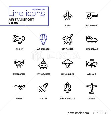 Air transport - line design icons set 42355949
