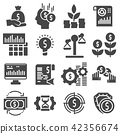 Vector Investment icon set in thin gray style 42356674