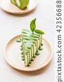 Close up green tea roll cake. 42356688