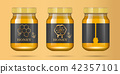 Realistic transparent glass jar with honey. Food bank. Honey packaging design. Honey logo. Mock up 42357101