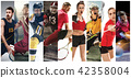 Sport collage about soccer, american football, badminton, tennis, boxing, ice and field hockey 42358004