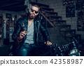 Young Bearded Biker in Sunglasses Smoke Cigar. 42358987