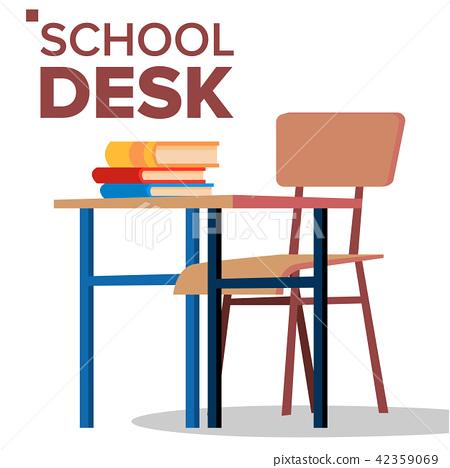 School Desk Chair Vector Classic, Wooden School Desk And Chair