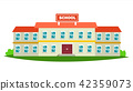 School Building Vector. Modern Education City Construction. Urban Sign. Font Yard. Isolated Flat 42359073