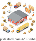 Warehouse Storage and Delivery Isometric Icons Set 42359664