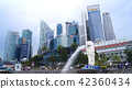 SINGAPORE - APR 2nd 2015: The Merlion fountain and Singapore skyline. Merlion is a mythical creature 42360434