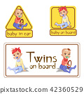Baby in car sign stickers illustration or twins on board caution warning labels isolated set 42360529