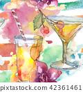 鸡尾酒 樱桃 水彩画 42361461