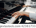 Male pianist hands on grand piano keyboard 42361733