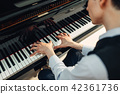 Pianist playing music on grand piano 42361736