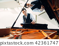 Pianist sets the grand piano before performance 42361747