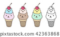 cat calico bear vector ice cream cone cheery 42363868