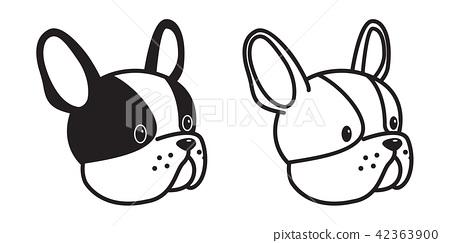 dog vector French bulldog icon head illustration 42363900