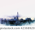 Abstract Building in the city watercolor painting  42368920