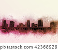 Abstract Building in the city watercolor painting  42368929