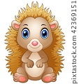 illustration of Cute baby hedgehog sitting 42369151