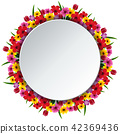 illustration of Round frame with flowers 42369436