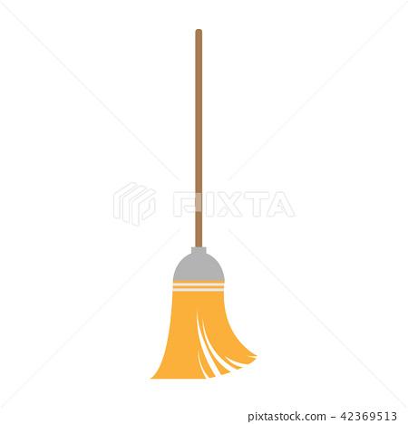 broom on white background , vector 42369513